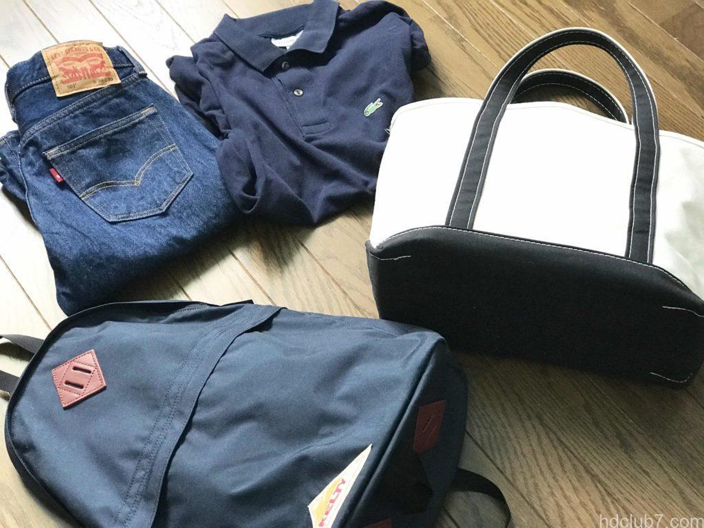 ケルティのデイパックとエルエルビーンのトートバッグとリーバイスのジーパンとラコステのポロシャツ