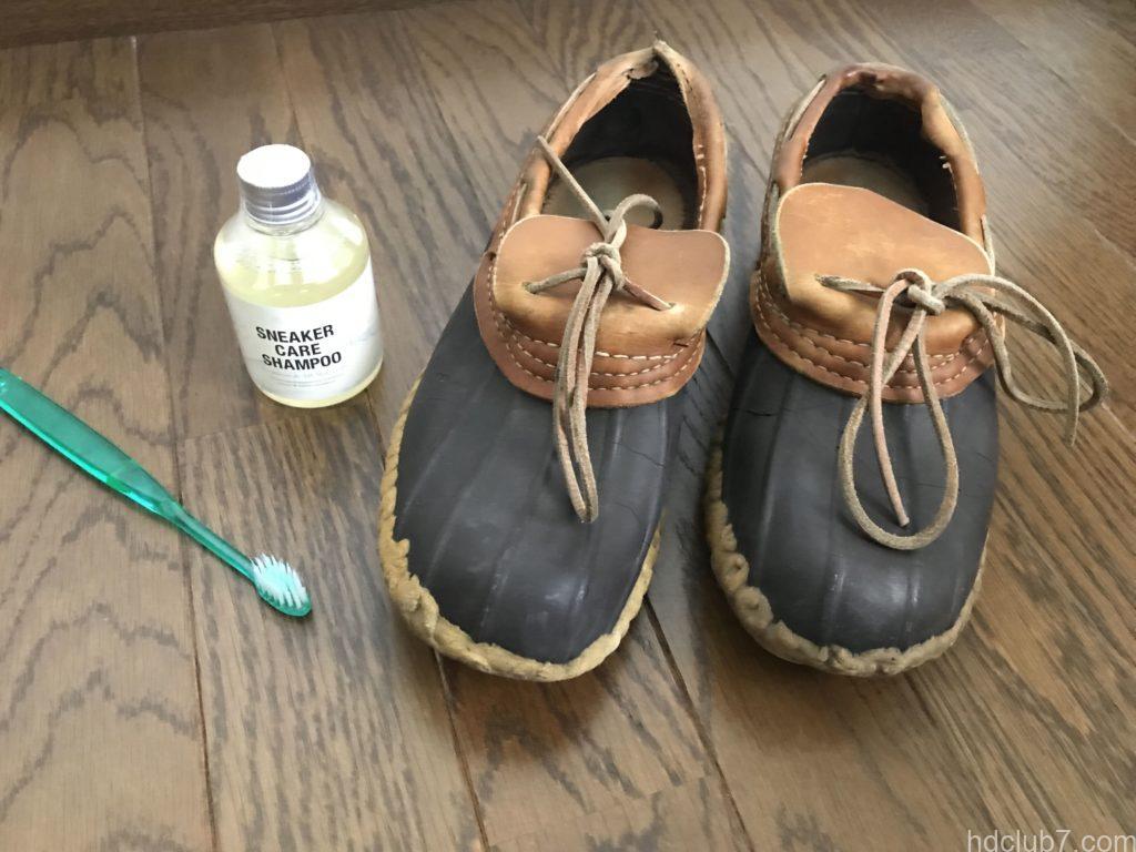 ビーンブーツのモカシンの丸洗いに必要なコロンブスのシャンプーと歯ブラシ
