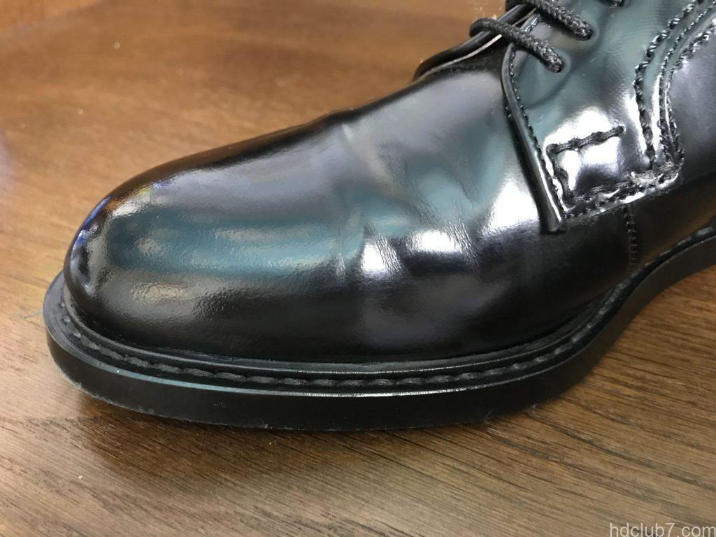 3ヶ月履いたハルタのプレーントゥシューズ(ガラスレザー)にクリームを塗布直後に消えた傷