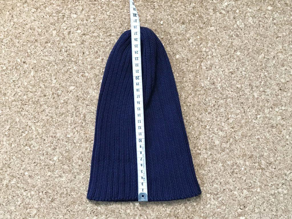 ハイランド2000のコットンニット帽を洗濯後のサイズ