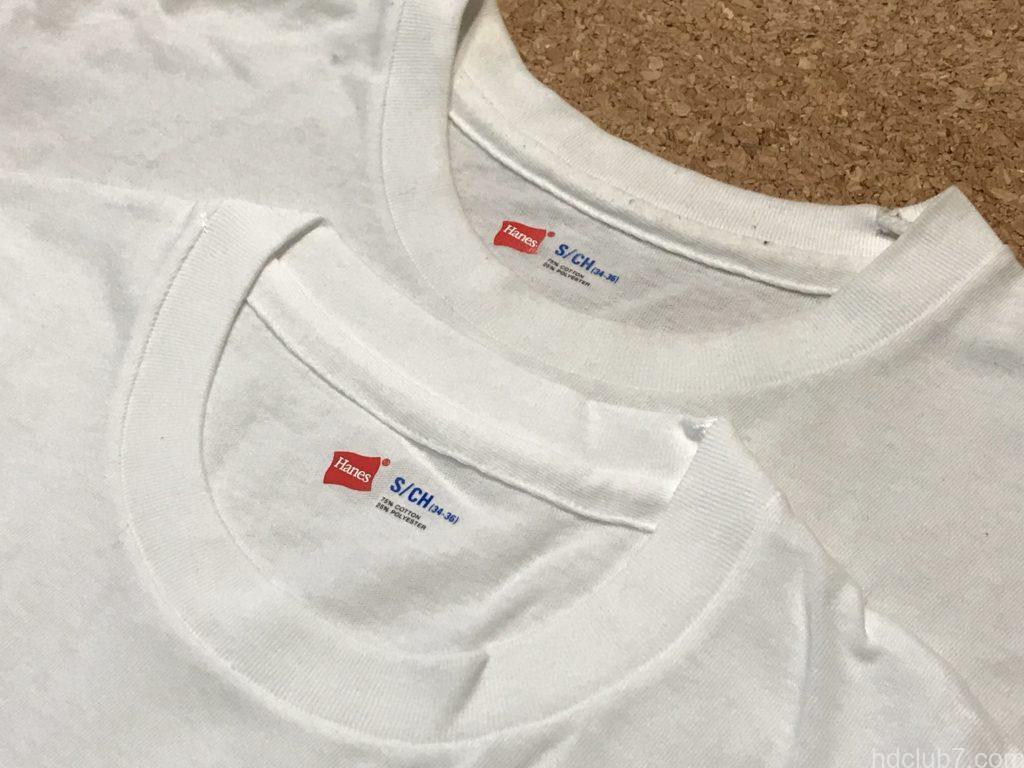 ヘインズのパックTシャツ青色の新品と着古したものが並んでいる