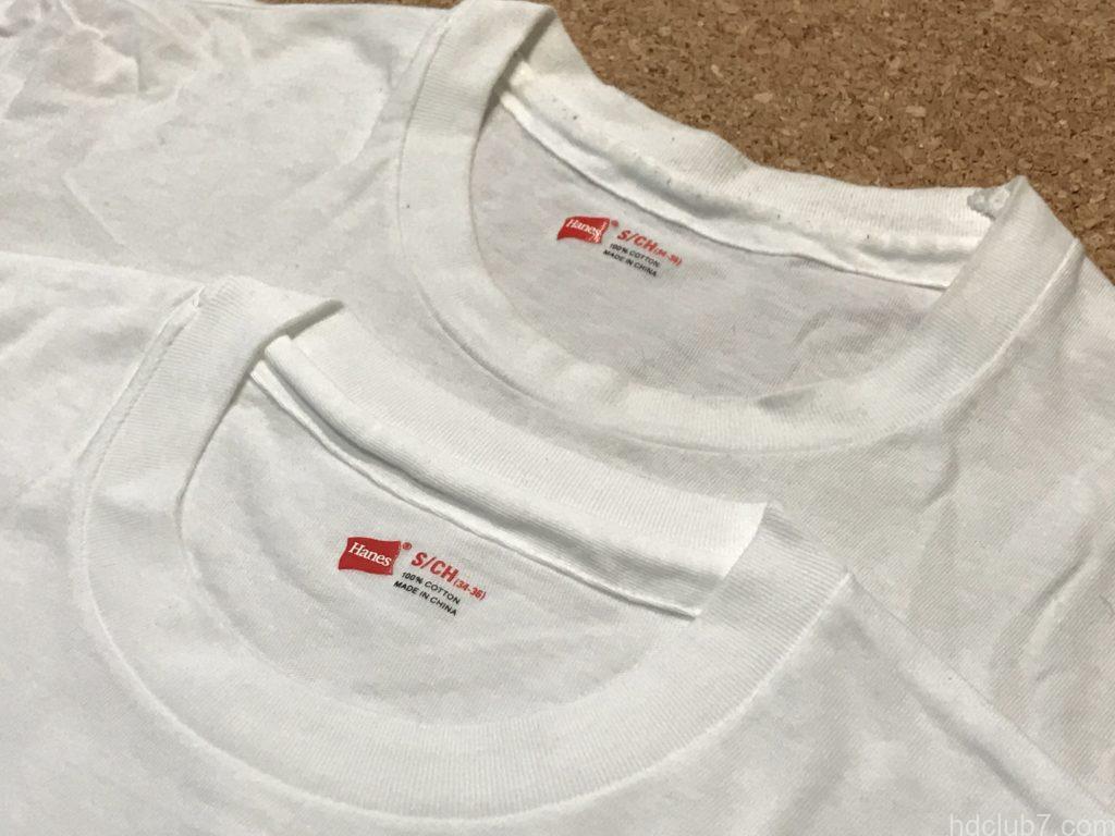 ヘインズのパックTシャツ赤色の新品と着古したものが並んでいる