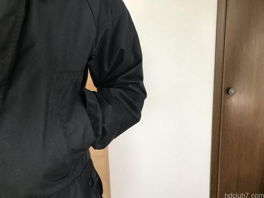 バブアーのビデイルSLの左腕の6ヶ月間着用後の経年変化