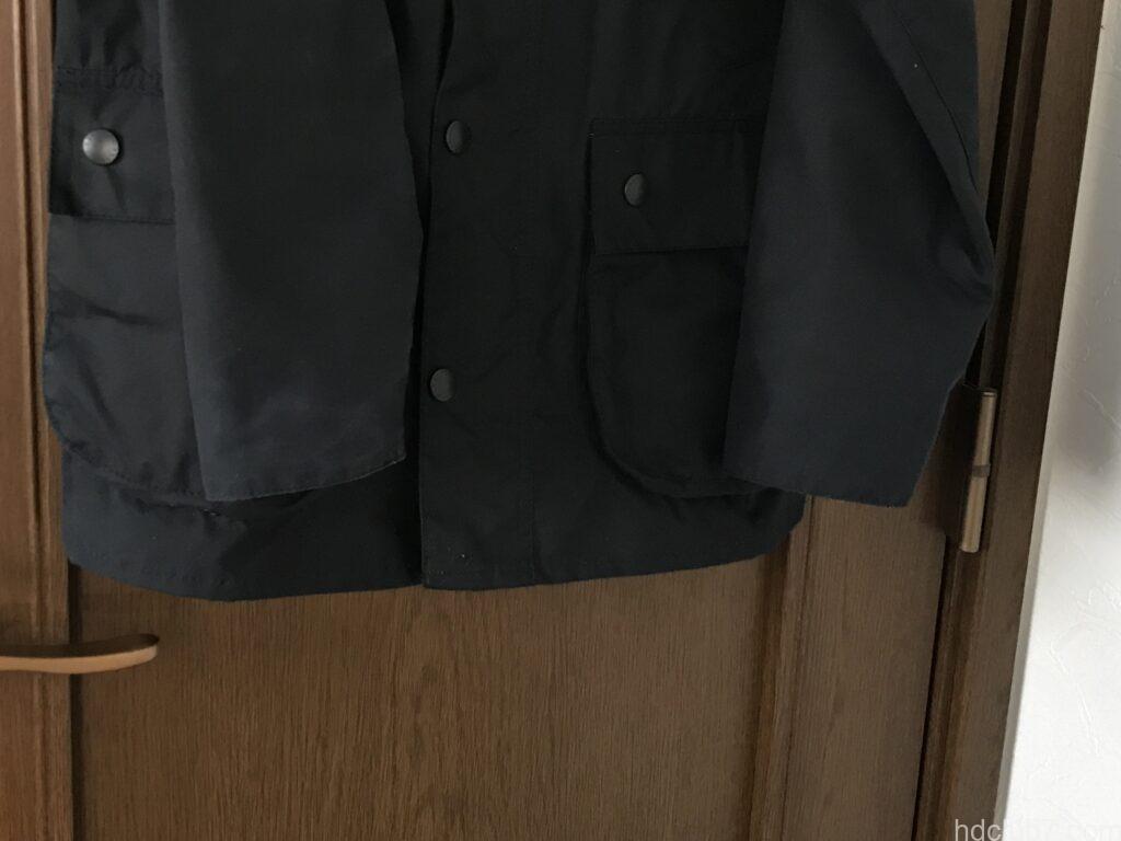 バブアーのビデイルSLの袖口の6ヶ月間着用後の経年変化
