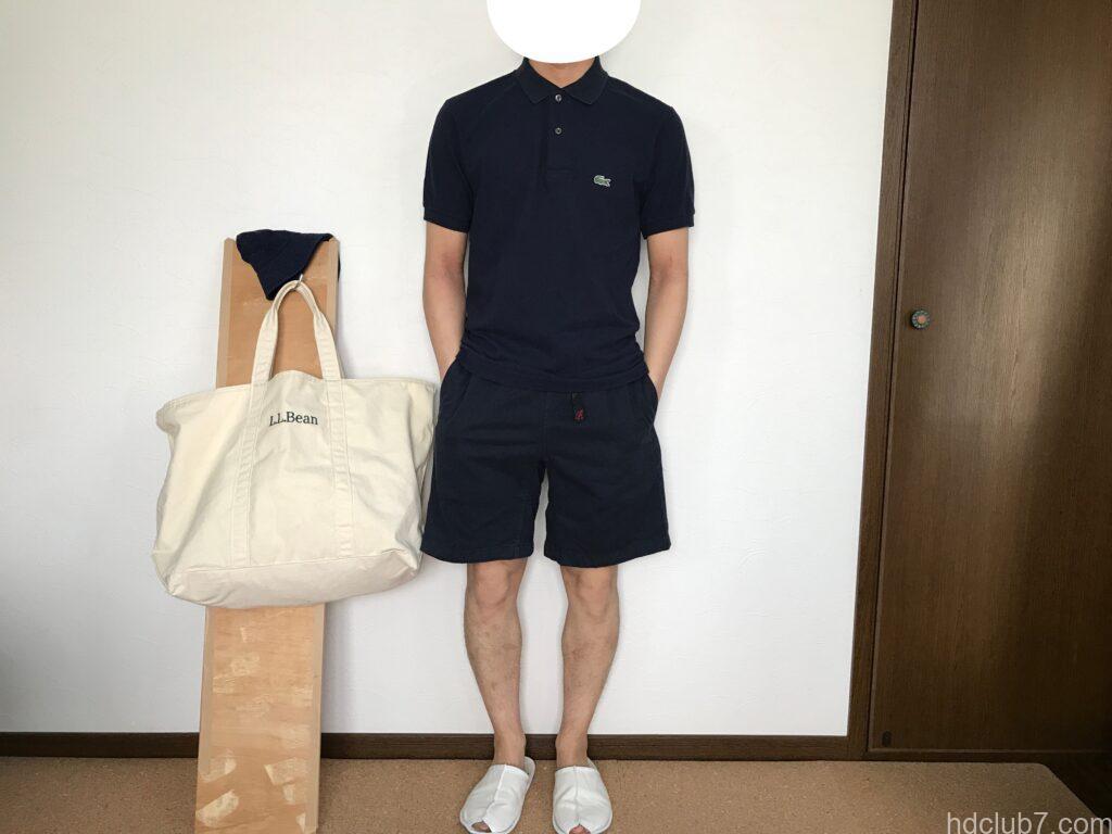 ラコステのポロシャツL1212とグラミチのGショーツを着たときのサイズ感