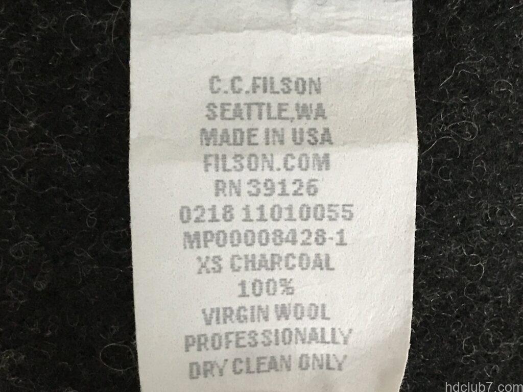 フィルソンのマッキーノウールベストの洗濯タグ表示