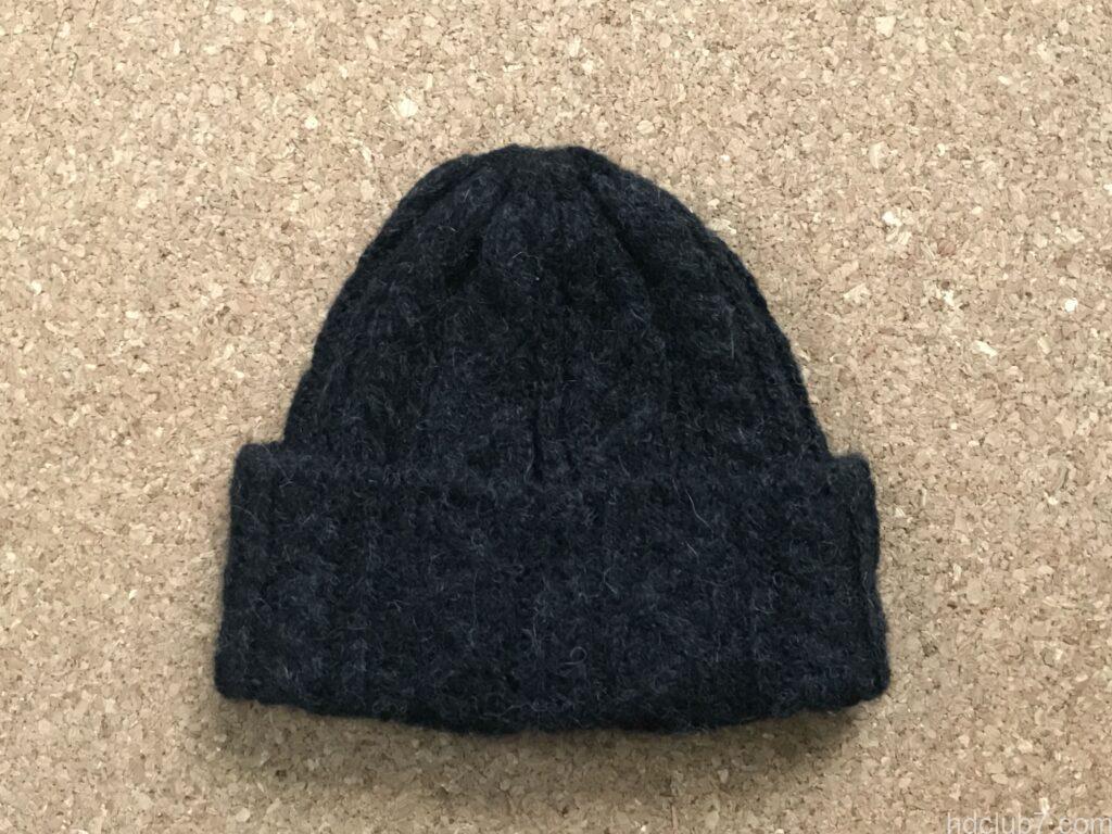 洗濯乾燥後のハイランド2000のアルパカのニット帽