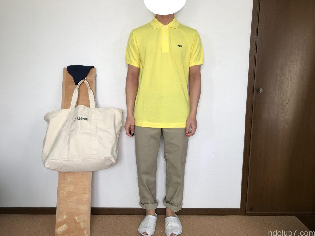 ラコステの日本製ポロシャツL1212ALの新品とディッキーズ874を着た男