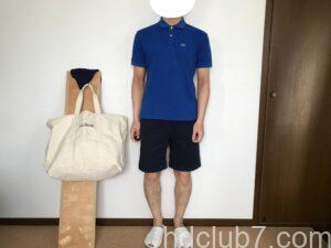 ラコステのポロシャツのボーイズモデルL1812とグラミチのGショーツを着た人
