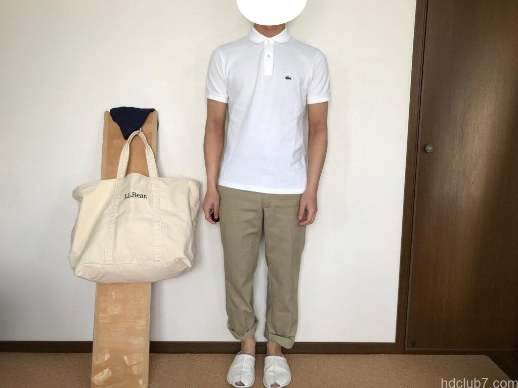 ラコステの半袖ポロシャツのボーイズモデルPJ2909のサイズ16とディッキーズ874を着た人