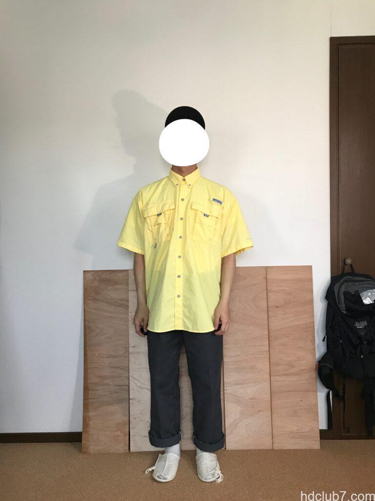 コロンビアPFGのバハマシャツ半袖とディッキーズ874を北人