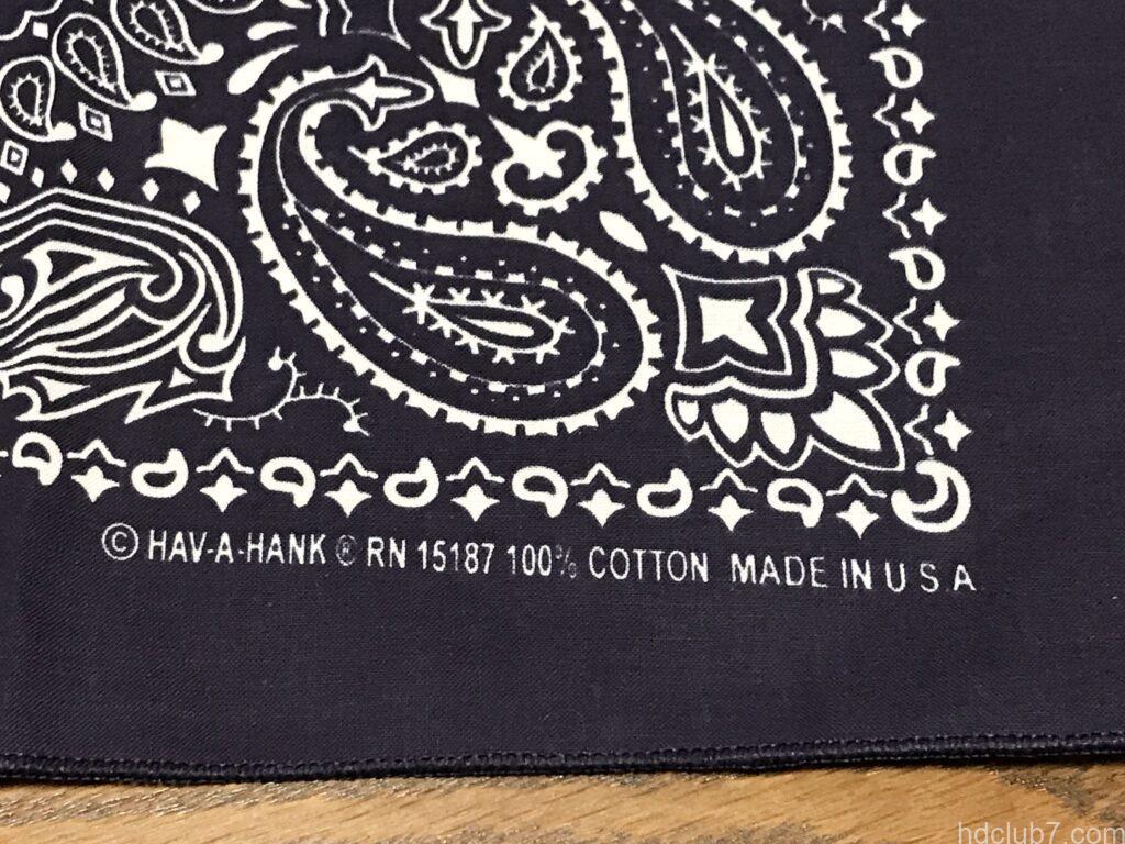 Made in USA の表記が歪んでるハバハンクのバンダナ