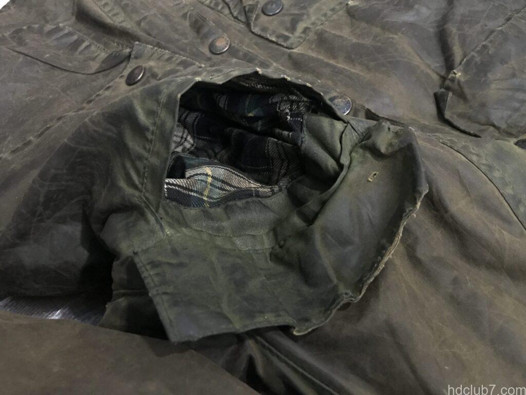 ビンテージビデイルの胸のフラップポケットの内部